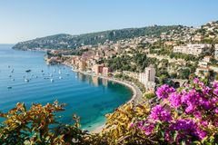 View of Cote d 'Azur near the town of Villefranche-sur-Mer. Panoramic view of Cote d 'Azur near the town of Villefranche-sur-Mer stock images