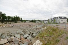 View of the cottage settlement under construction royalty free stock photo