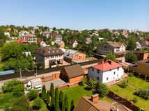 View of cottage village near Moscow from top, Russia. View of the cottage village near Moscow from the top, Russia Royalty Free Stock Image