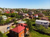 View of cottage village near Moscow from top, Russia. View of the cottage village near Moscow from the top, Russia Stock Photos