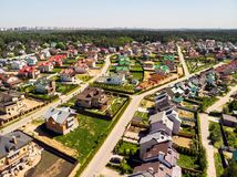 View from above on cottage village near Moscow, Russia. View of the cottage village near Moscow from the top, Russia Stock Photo