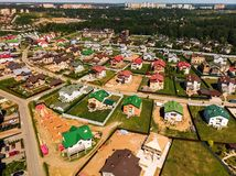 Modern cottage village near Moscow, Russia. View of the cottage village near Moscow from the top, Russia Royalty Free Stock Photos