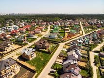View from above on cottage village near Moscow, Russia. View of the cottage village near Moscow from the top, Russia Royalty Free Stock Photo