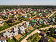 View from above on cottage village near Moscow, Russia. View of the cottage village near Moscow from the top, Russia Royalty Free Stock Photos
