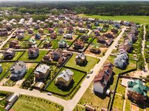 View from above on Modern cottage village near Moscow, Russia. View of the cottage village near Moscow from the top, Russia Royalty Free Stock Image