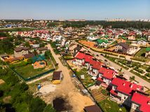 View from above on Modern cottage village near Moscow, Russia. View of the cottage village near Moscow from the top, Russia Royalty Free Stock Photo
