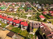 View from above on Modern cottage village near Moscow, Russia. View of the cottage village near Moscow from the top, Russia Stock Photo