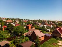 View of cottage village near Moscow from top, Russia. View of the cottage village near Moscow from the top, Russia Royalty Free Stock Images