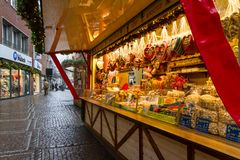 View of the counter with sweets and gingerbread at the Christmas Market, city of Aachen Royalty Free Stock Photography