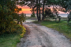 View on the country road and the Baltic sea, Latvia Royalty Free Stock Images