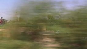 View of country side from train. Aswan Egypt Africa stock footage