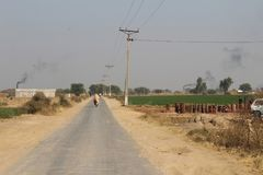 A view of country village roads stock photos