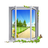 View of countryside. Street view of green countryside Royalty Free Stock Photo