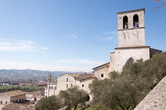 View of countryside around Gubbio and its Cathedral bell tower Royalty Free Stock Photography