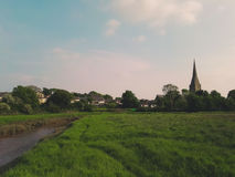 View of countryside and church near Kidwelly Stock Image