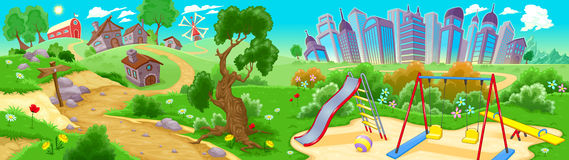 View on the countryside and the city. Vector illustration Royalty Free Stock Photos