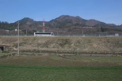 View of countryside japan at  Chuo Line-Limited Express train Royalty Free Stock Photos