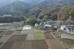View of countryside japan at Chuo Line train Royalty Free Stock Photos