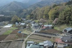 View of countryside japan at Chuo Line train Royalty Free Stock Images