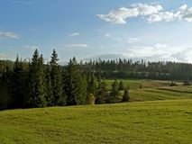 View of the countryside and meadows in the high mountains. Royalty Free Stock Images