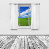 View of countryside through open window Royalty Free Stock Images
