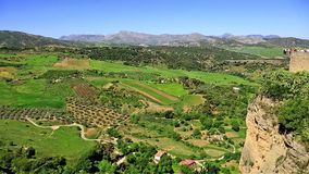 View of the countryside from Ronda Spain stock video