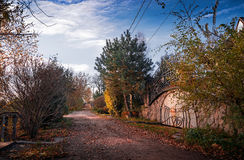 View of the countryside village in autumn. In a Sunny morning Royalty Free Stock Photography