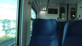 View of Countryside from a Window of a Train stock video footage