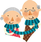 The view of couple. The view of old couple with muffler Stock Image