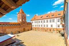 View of the courtyard of the castle Mir, Belarus Royalty Free Stock Image
