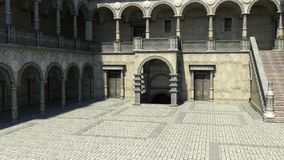 View of the courtyard at the entrance to the castle. Daytime stock illustration