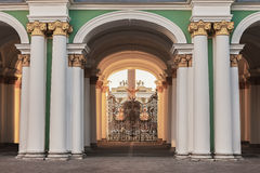 View from the courtyard through the gates of Winter Palace Royalty Free Stock Images