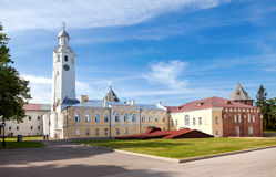 View on the courtyard of the Novgorod Kremlin, Russia royalty free stock photography