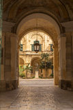 View into a courtyard, Valletta, Malta Stock Photo
