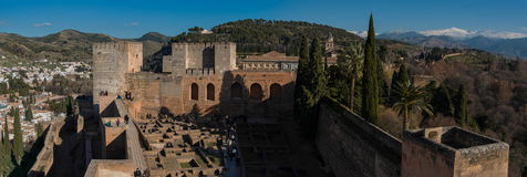 View of courtyard, walls and tower of Alcazaba, citadel of Alham Stock Images
