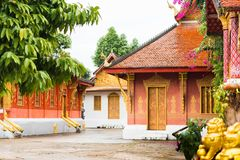 View of the courtyard of the Wat Sensoukaram temple in Louangphabang, Laos. Copy space for text. Royalty Free Stock Images