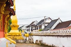 View of the courtyard of the Wat Sensoukaram temple in Louangphabang, Laos. Copy space for text. Royalty Free Stock Photo