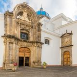 View at the coutyard of Metropolitan Cathedral in Guatemala City stock image