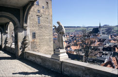 View of the covered bridge in Cesky Krumlov castle Royalty Free Stock Image