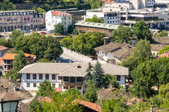 A view of a covered bridge in Lovech from the mountain village of Oreshak, Bulgaria royalty free stock image