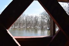 A view from a covered bridge royalty free stock photo