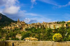 View of the cozy small town of Valdemossa from the observation deck on a summer day royalty free stock image