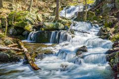 View of Crabtree Falls in the Blue Ridge Mountains of Virginia, USA. View of Crabtree Falls from one of the many viewing platforms located in the Blue Ridge royalty free stock image