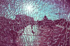 View of the Cathedral of Christ the Savior in Moscow through cracked glass on a sunny day. View through cracked glass on a sunny day in Moscow royalty free stock photography