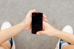 View on the cracked mobile phone stock images