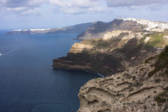 View of Crater,the sea cliff. The spectacular scenery from Fira royalty free stock images