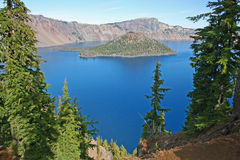 View at Crater Lake and Wizard Island Royalty Free Stock Photo