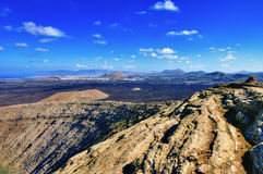 View from crater rim, Lanzarote Royalty Free Stock Photos