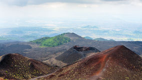 View of craters on Mount Etna in Sicily Royalty Free Stock Photos