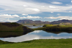 View of craters near Myvatn lake, Iceland Stock Photo